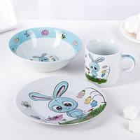 Набор детской посуды Доляна 'Крош', 3 предмета кружка 230 мл, миска 400 мл, тарелка 18 см