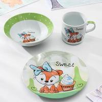 Набор детской посуды Доляна 'Лисёнок', 3 предмета кружка 230 мл, миска 400 мл, тарелка 18 см