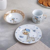Набор детской посуды Доляна 'Жирафик', 3 предмета кружка 230 мл, миска 400 мл, тарелка 18 см