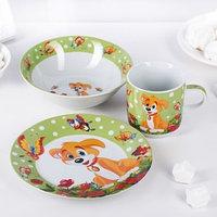 Набор детской посуды Доляна 'Щенок', 3 предмета кружка 230 мл, миска 400 мл, тарелка 18 см