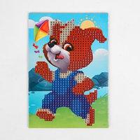 Алмазная мозаика для детей 'Щенок с воздушным змеем', 10 х 15 см. Набор для творчества