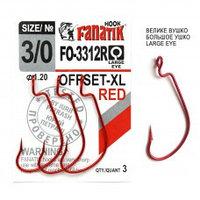 Офсетный крючок Fanatik FO-3312-XL №3/0 RED (красный)