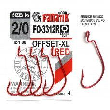Офсетный крючок Fanatik FO-3312-XL №2/0 RED (красный)