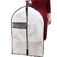 Чехол для хранения одежды на молнии 60*90 см мраморный 30004 белый