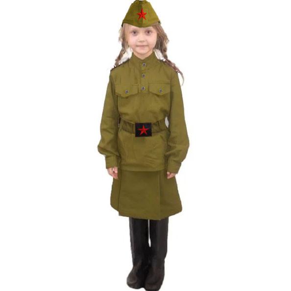 Костюм военный детский карнавальный для девочек защитного цвета - фото 1