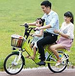 Электровелосипед, мотор 48v 240w, аккум. Li-ion 48v 10A/H. Дальность 40 км. Вес 23 кг. Колеса 20''. Сиденья 3, фото 2