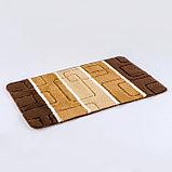 Коврик Доляна «Квадраты», 40×60 см, цвет коричневый, фото 2