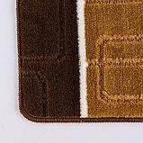 Коврик Доляна «Квадраты», 40×60 см, цвет коричневый, фото 3