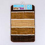 Коврик Доляна «Квадраты», 40×60 см, цвет коричневый, фото 5