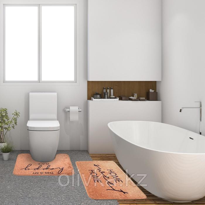 """Набор ковриков для ванной Этель """"Home"""" 2 шт, 80х50 см, 50х40 см, велюр"""