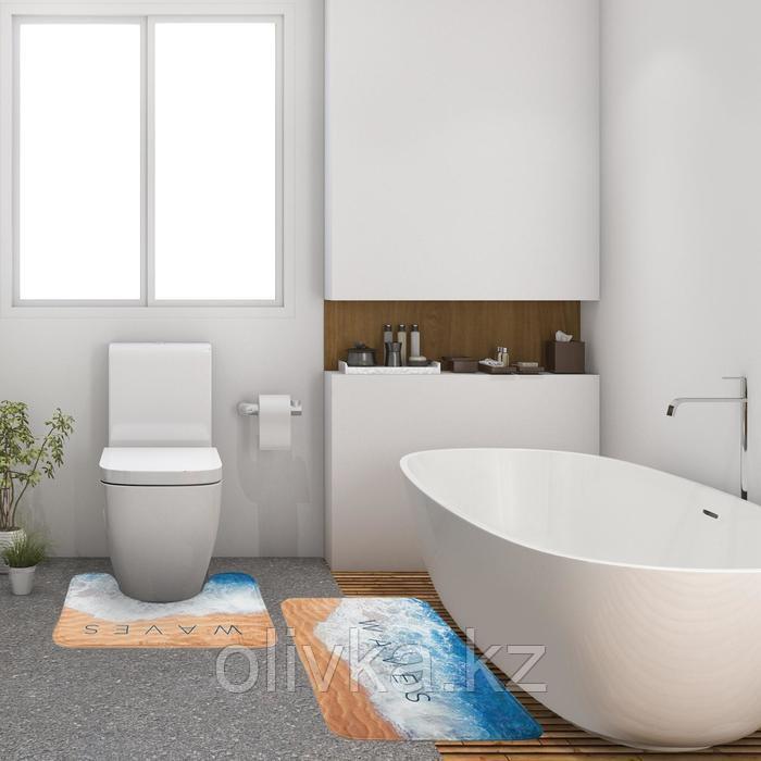 """Набор ковриков для ванной Этель """"Waves"""" 2 шт, 80х50 см, 50х40 см, велюр"""