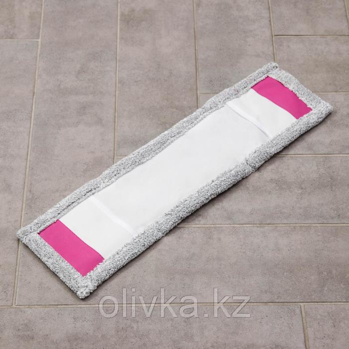Насадка для плоской швабры, 57×15 см, микрофибра, цвет светло-серый