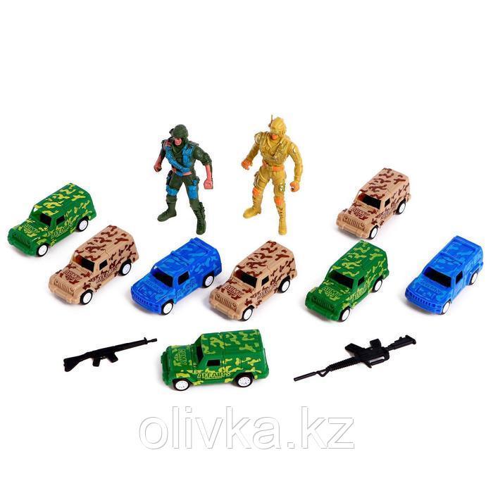 Набор игровой «Отряд Альфа», 8 машинок и 2 солдата, инерция, МИКС, в пакете