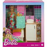 Кукла «Барби блондинка» в ванной с раковиной и туалетом, фото 2