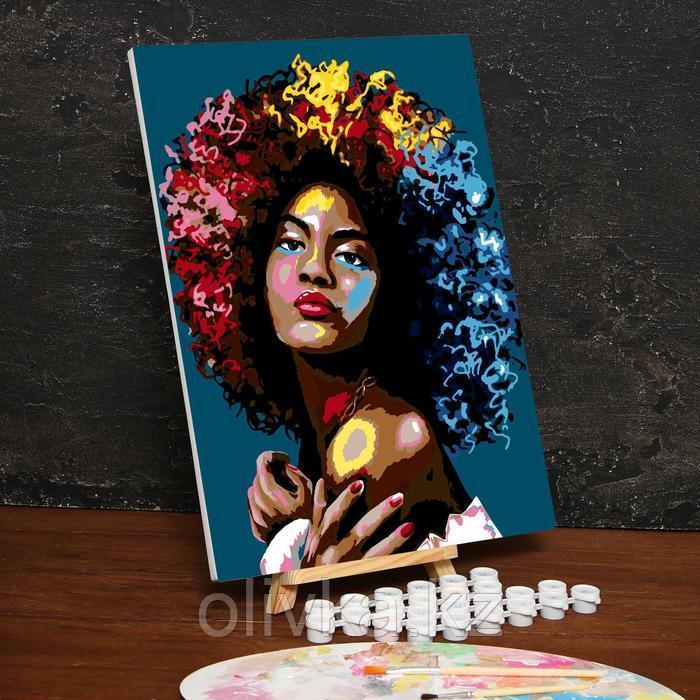Картина по номерам на холсте с подрамником «Девушка из Африки» 30х40 см