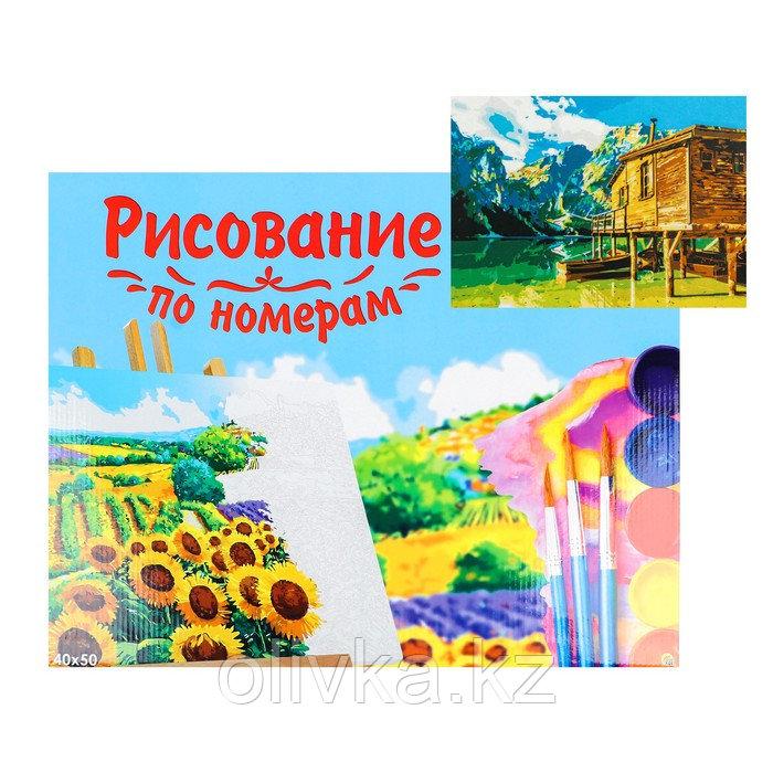 Картина по номерам на холсте 40 × 50 см, «Домик у озера в горах»