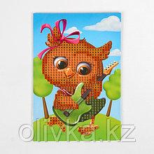 Алмазная мозаика для детей «Совушка с гитарой», 10 х 15 см. Набор для творчества