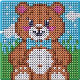 Алмазная мозаика магнит для детей «Медвежонок», 18 х 18 см + емкость, стерж, клеев подушечка. Набор для, фото 6