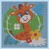 Алмазная мозаика для детей «Жираф», 15 х 15 см + емкость, стерж, клеев подушечка. Набор для творчества, фото 6