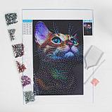 Алмазная вышивка с частичным заполнением «Взгляд кошки» 20 х 30 см на холсте, фото 3
