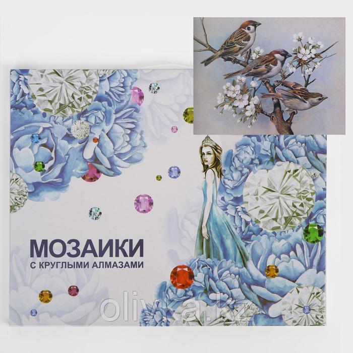 Алмазная мозаика с подрамником, полное заполнение «Воробушки» 40×50 см