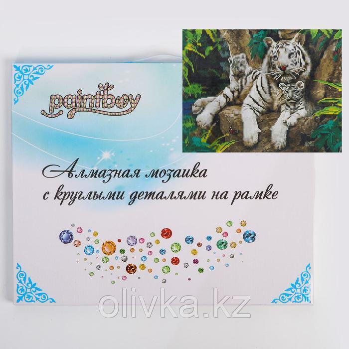 Алмазная мозаика с подрамником, полное заполнение «Белые тигры» 40×81 см