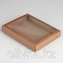 Коробка сборная, крышка-дно, с окном, крафт, 26 х 21 х 4 см
