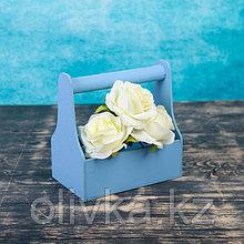Кашпо деревянное 20×12.5×20 см Стелла Моно, с ручкой, голубой Дарим Красиво