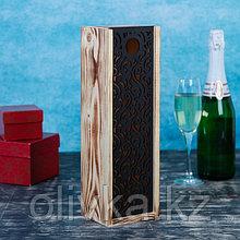 Переноска для бутылки из массива сосны, резная крышка, экзотик, 10,8х33х10,8см