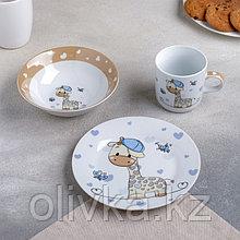 Набор детской посуды Доляна «Жирафик», 3 предмета: кружка 230 мл, миска 400 мл, тарелка 18 см