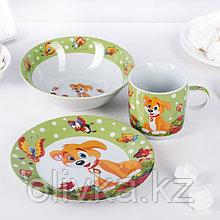 Набор детской посуды Доляна «Щенок», 3 предмета: кружка 230 мл, миска 400 мл, тарелка 18 см