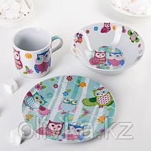 Набор детской посуды Доляна «Совушки», 3 предмета: кружка 230 мл, миска 400 мл, тарелка 18 см