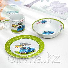 Набор детской посуды Доляна «Друзья», 3 предмета: кружка 230 мл, миска 400 мл, тарелка