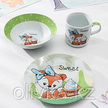 Набор детской посуды Доляна «Лисёнок», 3 предмета: кружка 230 мл, миска 400 мл, тарелка 18 см