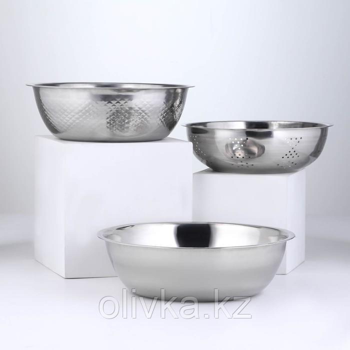 Набор посуды, 3 предмета: дуршлаг 21×8 см, салатник 26×8,5 см, салатник 28×8 см