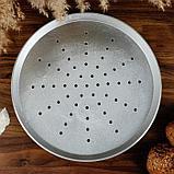 """Форма для выпечки """"Пицца"""", перфорированная, 270х18 мм, литой алюминий, фото 2"""