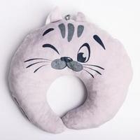 Подушка дорожная детская 'Котёнок' для шеи, цвет серый
