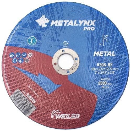 Круг отрезной Metal 180 х 2,5 х 22,23 Metalynx PRO A30S1-BF (Weiler Abrasives, Slovenija)