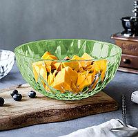 Салатник круглый пластиковый диаметр 24 см имитация хрусталя зеленый прозрачный