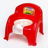 Горшок-стульчик 'Утёнок' с крышкой, цвет красный