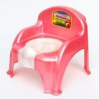 Горшок-стульчик 'Утёнок' с крышкой, цвет розовый