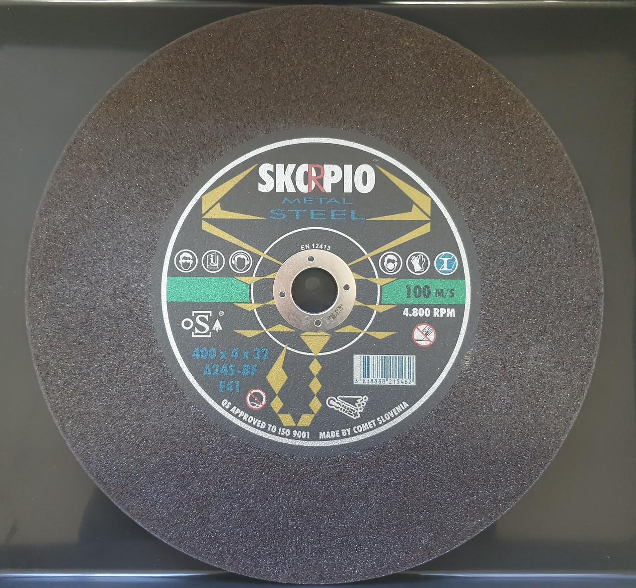 Круг отрезной для монтажных пил Metal 400 х 4 х 32 SKORPIO A24S-BF (Weiler Abrasives)