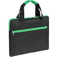Конференц-сумка Unit Сontour, черная с зеленой отделкой (артикул 7593.90)