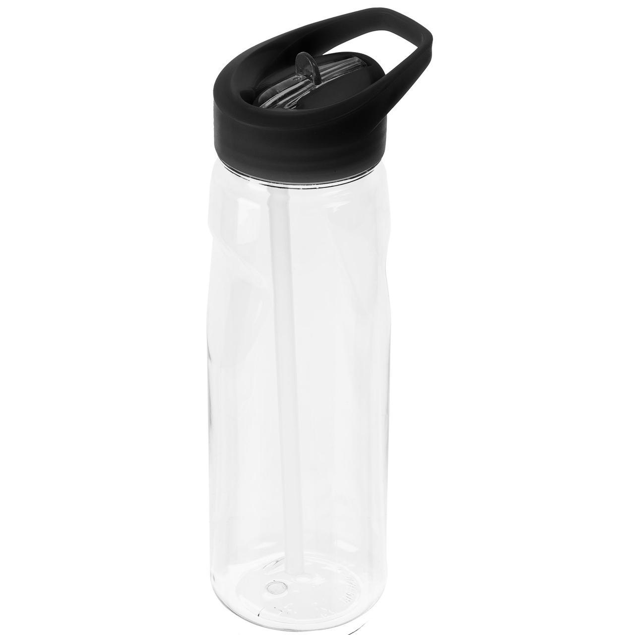 Спортивная бутылка Start, прозрачная с черной крышкой (артикул 2826.63)