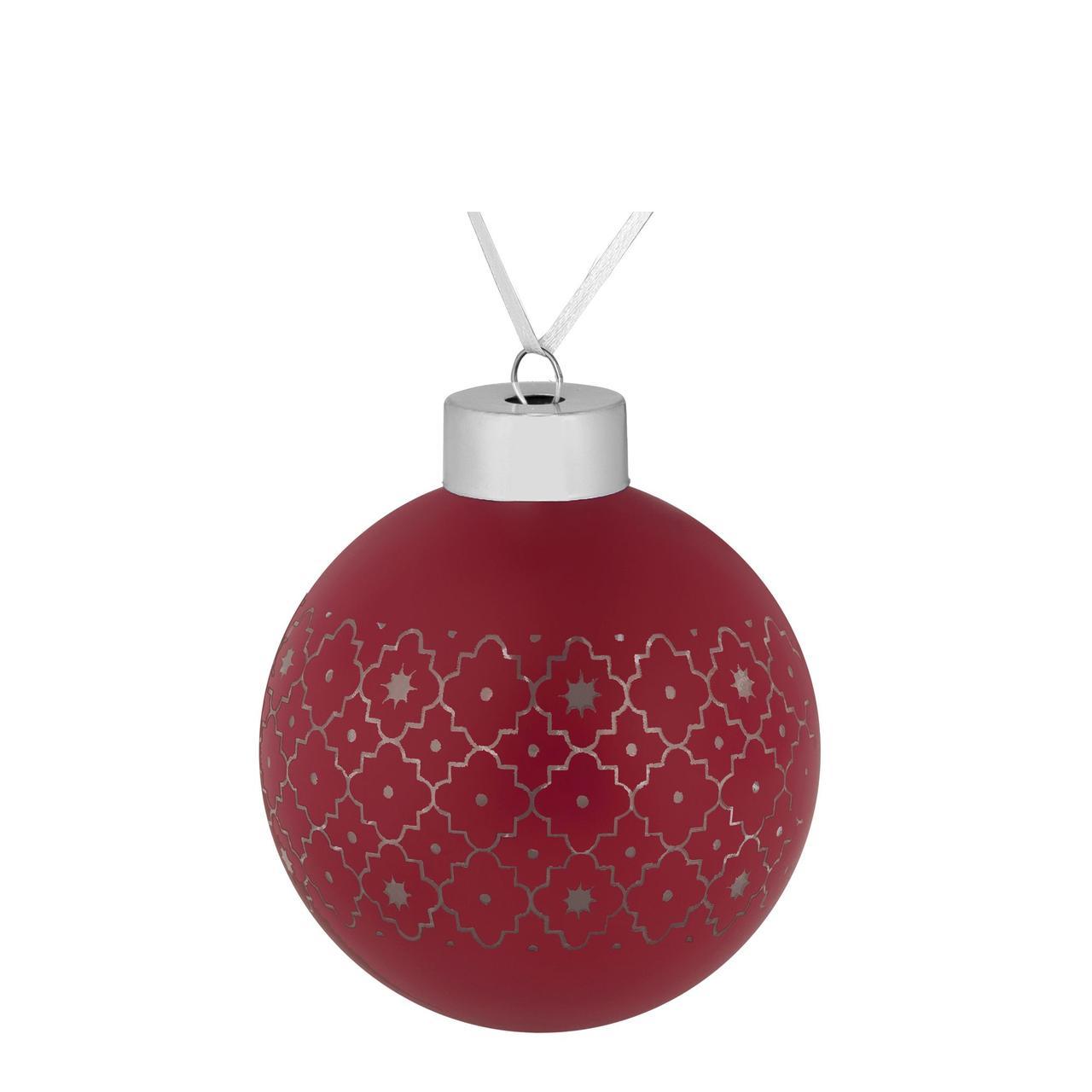 Елочный шар Chain, 8 см, красный (артикул 7169.50)