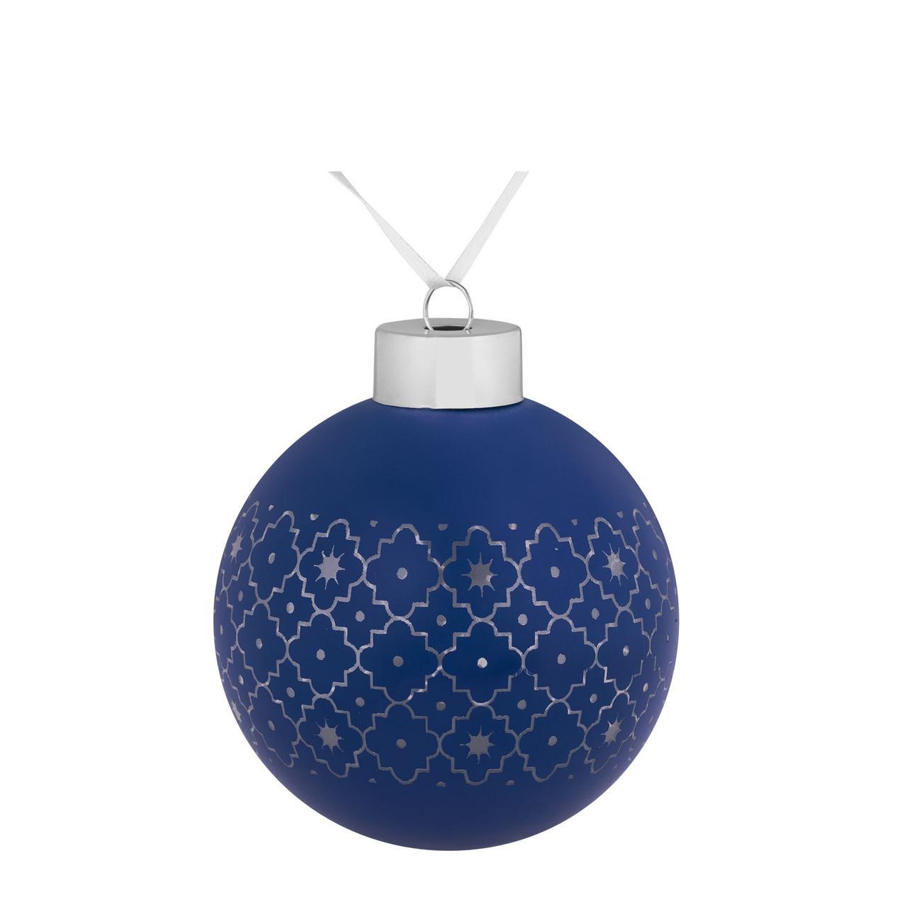 Елочный шар Chain, 8 см, синий (артикул 7169.40)