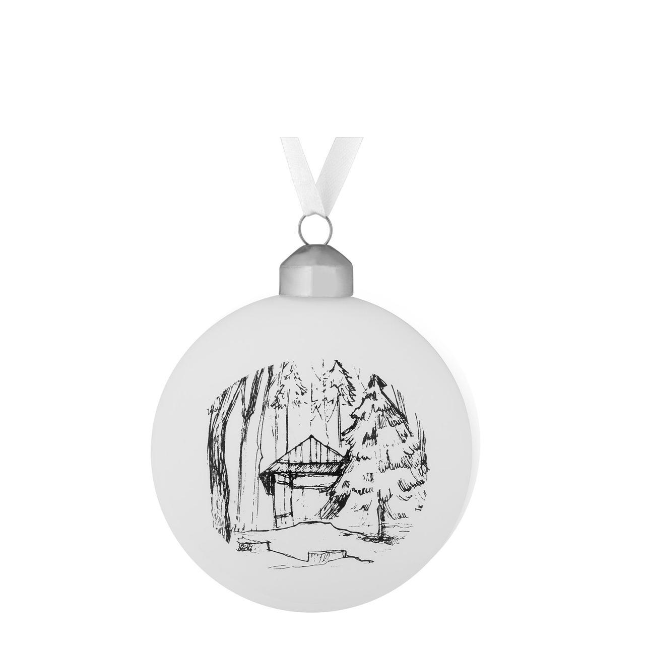Елочный шар Forest, 8 см, с изображением избушки (артикул 7175.03)