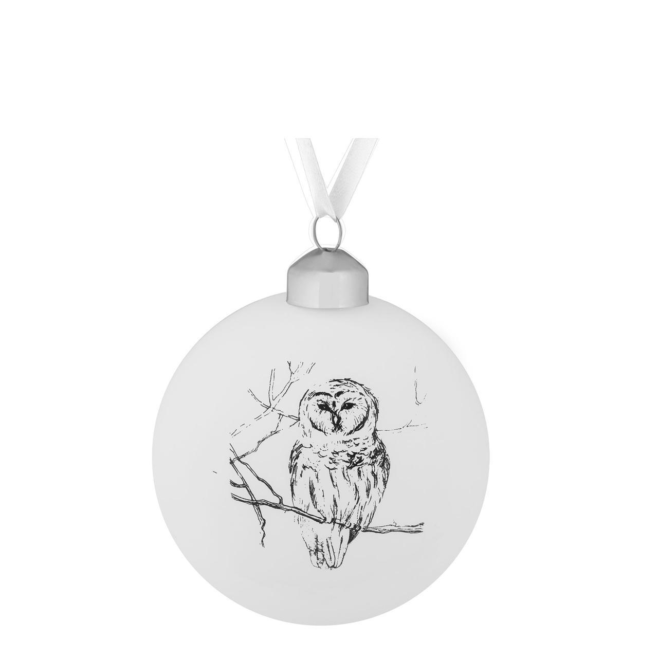 Елочный шар Forest, 8 см, с изображением совы (артикул 7175.05)