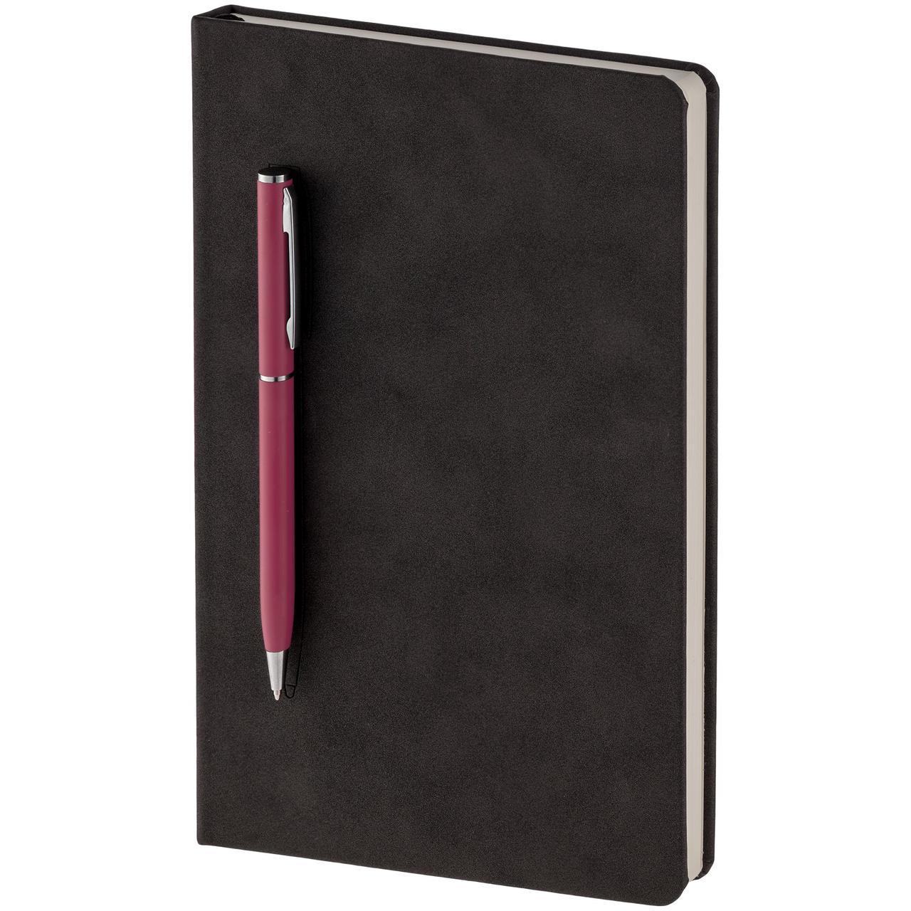 Блокнот Magnet Chrome с ручкой, черно-розовый (артикул 15016.15)