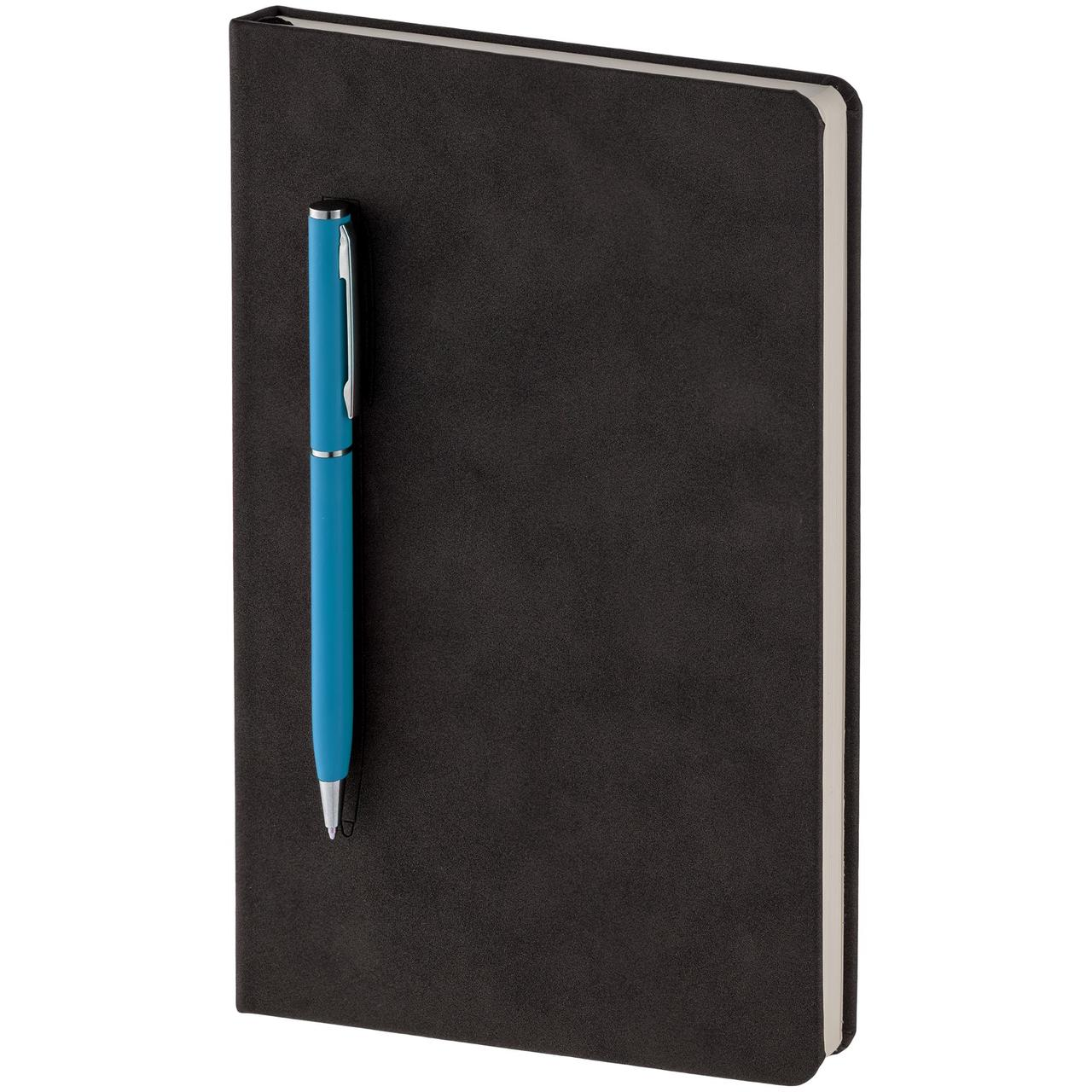 Блокнот Magnet Chrome с ручкой, черно-голубой (артикул 15016.44)